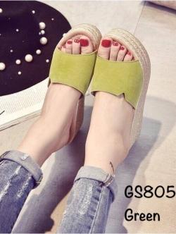 รองเท้าส้นเตารีด ทรงสวม คาดหน้าผ้าสักหราด (สีเขียว )