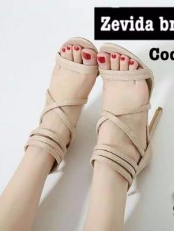 รองเท้าส้นสูง ปิดส้น รัดข้อ สายคาดไขว้ (สีครีม )