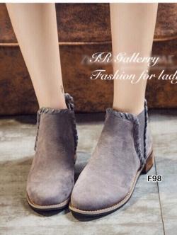 รองเท้าบูทผู้หญิง หนังกลับ (สีเทา )