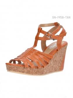 รองเท้าส้นเตารีดรัดส้น สไตล์โรมัน (สีแทน )