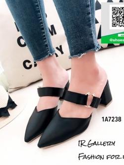 รองเท้าส้นตันสีดำ เปิดส้น หัวแหลม (สีดำ )