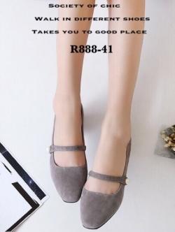 รองเท้าคัทชูผู้หญิง หัวมน ส้นเหลี่ยม (สีเทา )