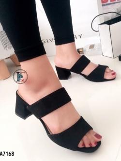 รองเท้าแตะส้นสูง เปิดส้น สายคาด2ตอน (สีดำ )