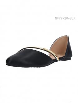 รองเท้าส้นแบนแบบรัดหัวแหลม เปิดข้าง (สีดำ )
