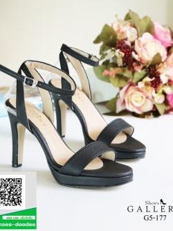 รองเท้าส้นสูงรัดข้อสีดำ เปิดหน้าเท้า (สีดำ )