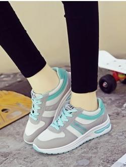 รองเท้าผ้าใบแฟชั่น ผ้าสักหลาดแต่งสลับผ้า ร้อยเชือก สวมใส่กระชับเท้า (สีเขียว )