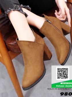 รองเท้าบูทสั้นสีน้ำตาล หุ้มข้อ สไตล์เกาหลี (สีน้ำตาล )