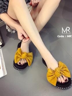 รองเท้าแตะเพื่อสุขภาพสีเหลือง เปิดส้น แต่งโบว์ใหญ่ (สีเหลือง )