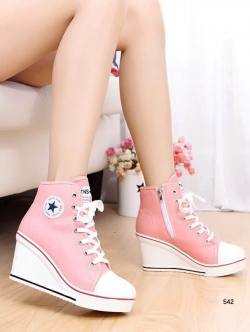 รองเท้าผ้าใบสีชมพู เสริมส้น สไตล์ SPORTY GIRL เเนำนำ+1