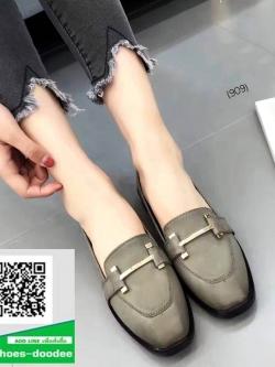 รองเท้าคัทชูสีเทา หนังนิ่ม (สีเทา )