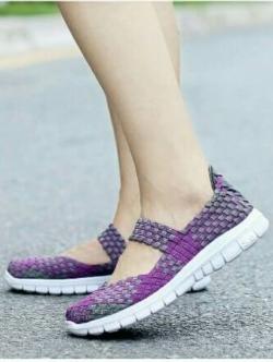 รองเท้าผ้าใบแฟชั่น ผ้ายืดสาน พื้นหักงอได้ (สีม่วง )