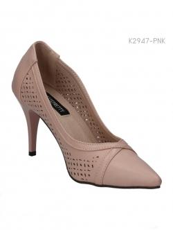 รองเท้าคัทชูส้นสูง ฉลุลาย (สีชมพู )
