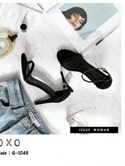 รองเท้าสวมส้นเข็ม ความสูง 4 นิ้ว G-1048-BLK [สีดำ]