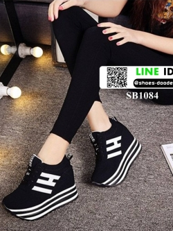 รองเท้าผ้าใบเสริมส้นสไตล์เกาหลี IH SB1084-BLACK [สีดำ]
