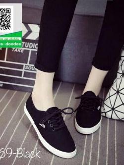 รองเท้าผ้าใบแฟชั่นสีดำ สไตล์ Keds (สีดำ )