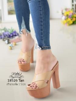 รองเท้าส้นสูงเปิดส้นสีแทน Muless Heels Shoes (สีแทน )