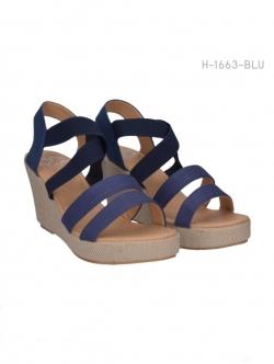 รองเท้าส้นเตารีดรัดส้น สไตล์ลำลอง (สีน้ำเงิน )
