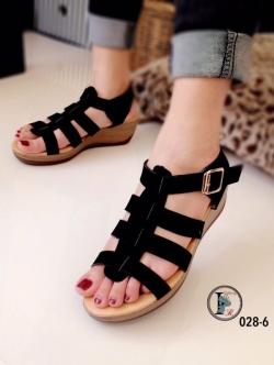 รองเท้าส้นเตารีด รัดส้น สายคาด3ตอน (สีดำ )
