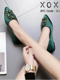 รองเท้าคัทชู ส้นเตี้ย หัวแหลม สไตล์เกาหลี (สีเขียว )