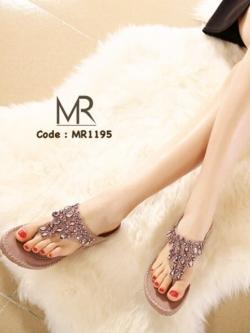 รองเท้าแตะเพื่อสุขภาพสีม่วง ทรงคีบ ประดับคริสตัส น่ารักสุดๆ (สีม่วง )