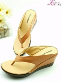 รองเท้าแตะแฟชั่นสีแทน แบบคีบ ายคาดหนุนฟองน้ำนิ่ม (สีแทน )