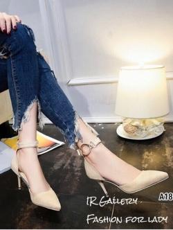 รองเท้าส้นเข็มรัดข้อสีครีม หัวแหลม เดย์ทูไนท์ไอเท็ม (สีครีม )