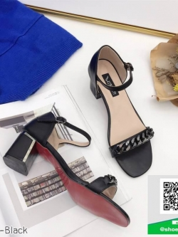 รองเท้าส้นตันรัดส้นสีดำ ประดับอะไหล่โซ่ ส้นแท่ง (สีดำ )
