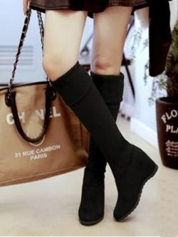 รองเท้าบูทยาว วัสดุหนังกลับ (สีดำ)