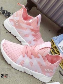 รองเท้าผ้าใบแฟชั่นสีชมพู ผ้าตาข่าย ดีไซน์สวย (สีชมพู )