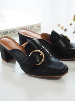 รองเท้าส้นตันสีดำ ทรงหน้าเรียว style แบรนด์ Gucci (สีดำ )