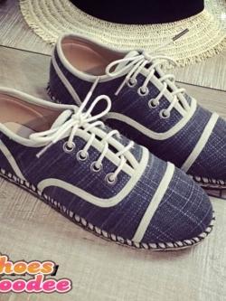 รองเท้าผ้าใบสีดำ งานCHANELคอเลคชั่นใหม่ล่าสุด ผ้าแคนวาส พื้นเสริมส้น1นิ้ว นน.เบาใส่สบาย