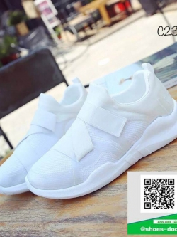 รองเท้าผ้าใบแฟชั่น แบบสวม ทรงสปอร์ต (สีขาว )