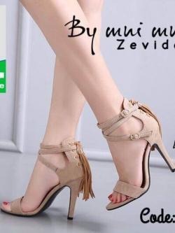 รองเท้าส้นเข็มรัดข้อสีครีม หน้าสวม ซิปหลัง (สีครีม )