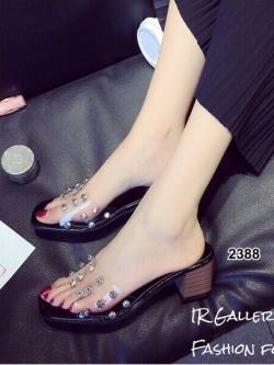 รองเท้าส้นตันสีดำ พียูใสไม่บาดเท้า แต่งเพชร (สีดำ )
