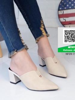 รองเท้าส้นตันสีครีม หัวแหลม (สีครีม )
