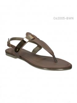 รองเท้าส้นแบนรัดส้น สไตล์เกาหลี (สีน้ำตาล )