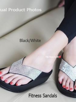 รองเท้าแตะเพื่อสุขภาพสีดำเงิน Crystal Fitness Soft (สีดำเงิน )
