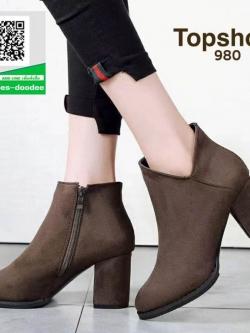 รองเท้าบูทสั้นสีเทา หุ้มข้อ สไตล์เกาหลี (สีเทา )