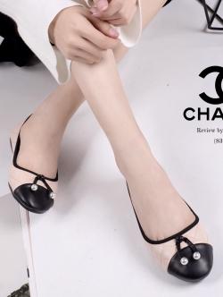 รองเท้าคัทชูส้นเตี้ย หนังนิ่ม ทรงสวย STYLE CHANEL (สีชมพู )
