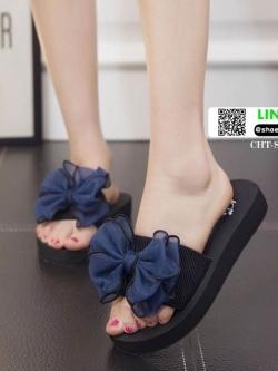 รองเท้าแตะส้นเตารีดประดับโบว์ CHT-SG05-BLU [สีน้ำเงิน]
