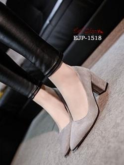 รองเท้าคัทชูส้นตันสีเทา หัวแหลม ผ้าสักหราด (สีเทา )