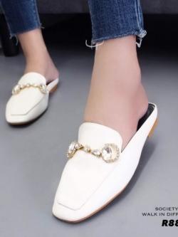 รองเท้าส้นแบนเปิดส้นสีครีม สไตล์แบรนด์ GUCCI (สีครีม )