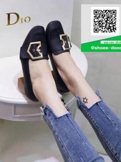 รองเท้าคัทชูผู้หญิงสีดำ ประดับเข็มขัดเกร๋ๆ (สีดำ )