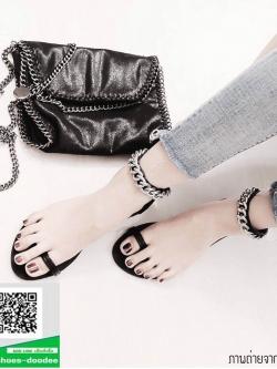 รองเท้าแตะรัดข้อสีดำ แบบคีบ GIVENCHY (สีดำ )