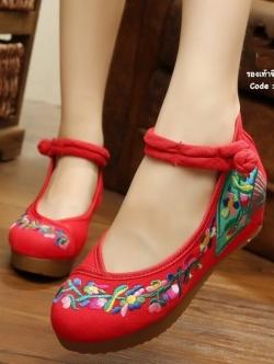 รองเท้าส้นเตารีดสีแดง รองเท้าปักลายพัดแบบจีนที่hotมากๆ รุ่นนี้พิเศษที่พื้นเสริมซิลิโคนนิ่มเกรดเยี่ยม ทำให้รองเท้านิ่มและทนยิ่งขึ้น สูง2 นิ้ว เสริมหน้า1นิ้ว(อวบกว้าง+1)