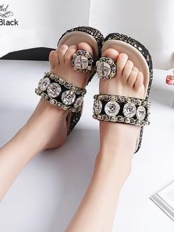 รองเท้าแตะเปิดส้นสีดำ แบบคีบผ้าลูกไม้ สไตล์โบฮีเมียน (สีดำ )