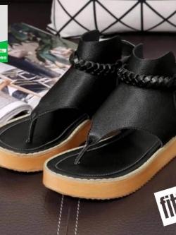 รองเท้าแตะรัดส้นสีดำ flip flops and female 2017 (สีดำ )