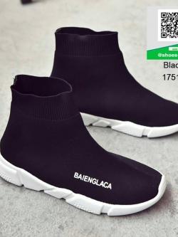 รองเท้าผ้าใบผ้ายืดสีดำ Elastic พื้นโฟมเกาหลี (สีดำ )