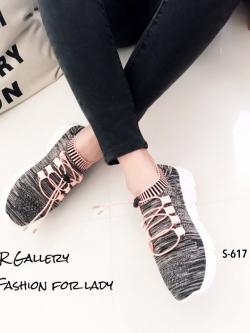 รองเท้าผ้าใบแฟชั่นสีชมพู วัสดุผ้าทอนุ่มๆ (สีชมพู )