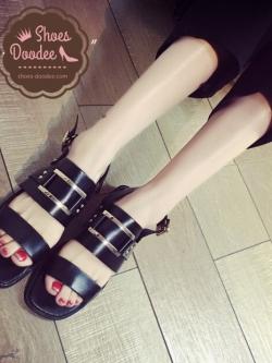 รองเท้าแตะรัดส้นสไตล์ลำลองแนว open toes (สีดำ)